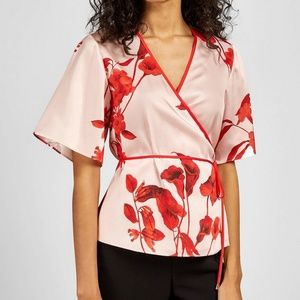 NEW Ted Baker Floral Print Satin Wrap Top